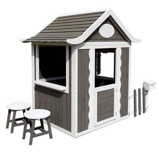 Drevený záhradný domček s taburetmi a poštovou schránkou sivá/biela PEOR
