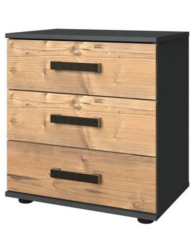 Nočný stolík ALYSSA strieborná jedľa/grafit, 3 zásuvky