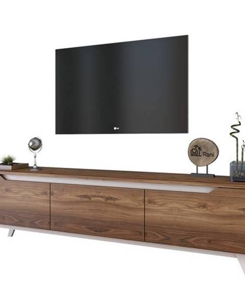 Sconto TV stolík QUINN tmavý orech/biela