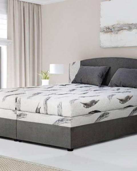 OKAY nábytok Čalúnená posteľ Kappa 180x200, sivá, vr. matracov, roštu a ÚP