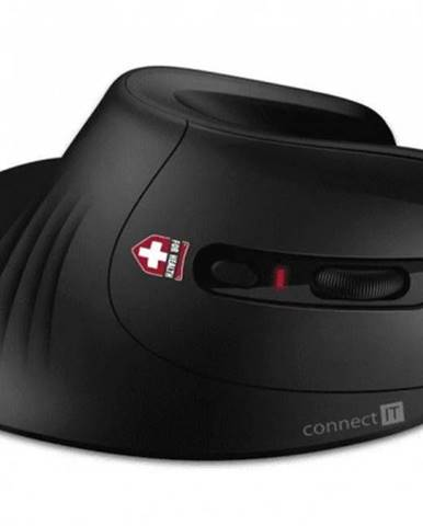 Bezdrôtová myš CONNECT IT CMO-2900-BK, ergonomická, čierna + Zdarma podložka Olpran