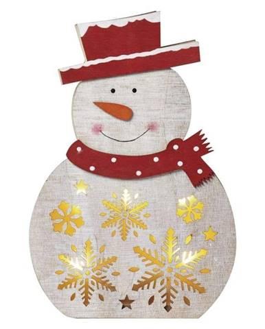 LED dekorace  Emos vánoční sněhulák dřevěný, 30cm, 2× AAA, teplá