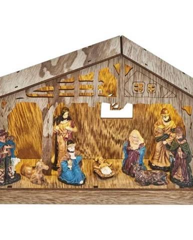 LED dekorace  Emos vánoční betlém, 19cm, 3× AA, teplá bílá, časovač