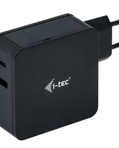 Sieťový adaptér i-tec 60W, USB-C, 1,8m, + USB-A 12W čierny