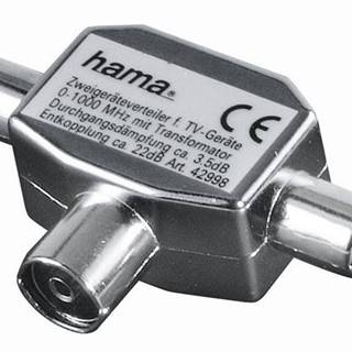 Anténny rozbočovač Hama pro TV, 1x koaxiální zásuvka - 2x koaxiální