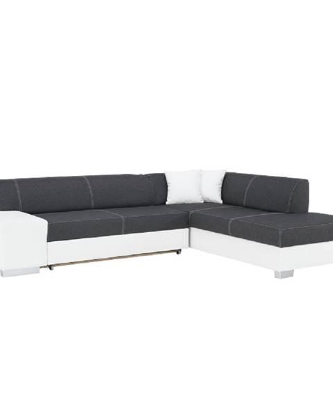 Tempo Kondela Rohová sedacia súprava pravá ekokoža biela/látka sivá/biele prešitie PETER NEW