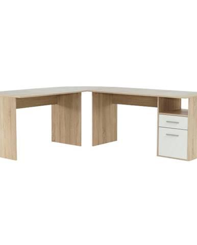 Rohový PC stôl dub sonoma/biela MAURUS NEW MA11