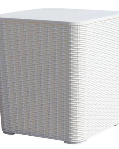 Záhradný úložný box/príručný stolík biela UGUR