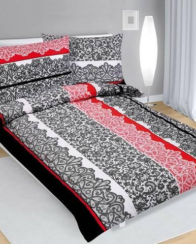 Bellatex Bavlnené obliečky Čipka čierno-červená, 140 x 200 cm, 70 x 90 cm