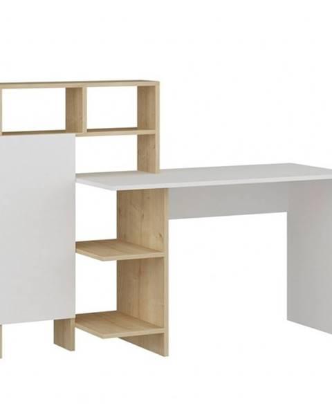 Sconto Písací stôl s regálom BUGRA dub/biela