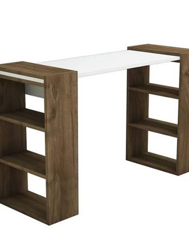 Písacá stôl s regálom HANDY orech/biela