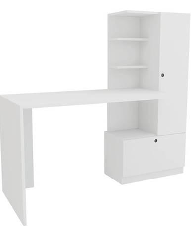 Písací stôl s regálom MERINOS biela