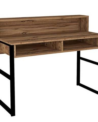 Pracovný stôl KEMO čierna/orech