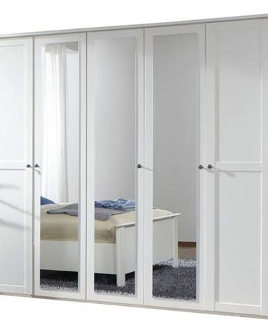 Šatníková skriňa CHASE biela, 225 cm, 3 zrkadlá