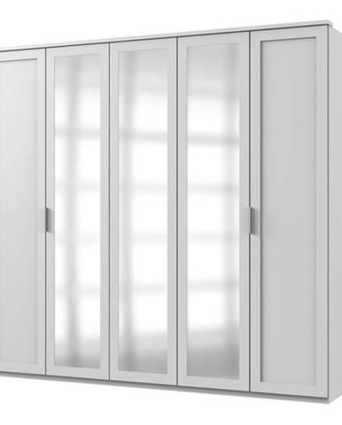 Šatníková skriňa NATHAN biela, 225 cm, 3 zrkadlá