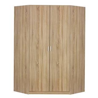 Rohová šatníková skriňa BENETT dub sonoma, 2 dvere