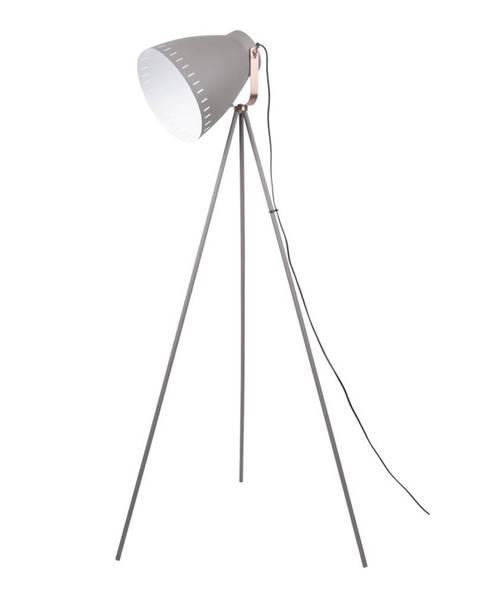 Leitmotiv Sivá stojacia lampa s detailmi v medenej farbe Leitmotiv Mingle