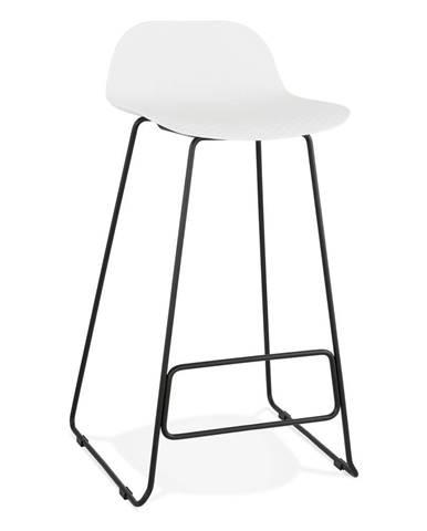 Biela barová stolička s čiernymi nohami Kokoon Slade, výška sedu 76 cm