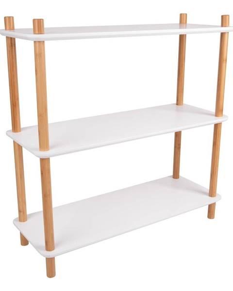 Leitmotiv Biely regál s bambusovými nohami Leitmotiv Cabinet Simplicity, 80 x 82.5 cm