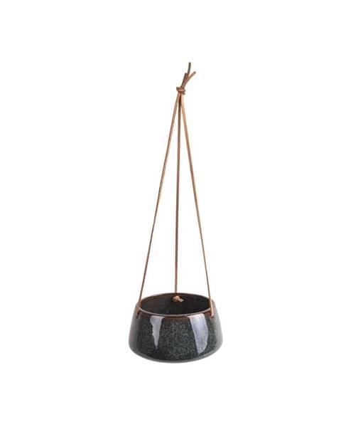 PT LIVING Tmavozelený keramický závesný kvetináč PT LIVING Unique, ø 20,5 cm