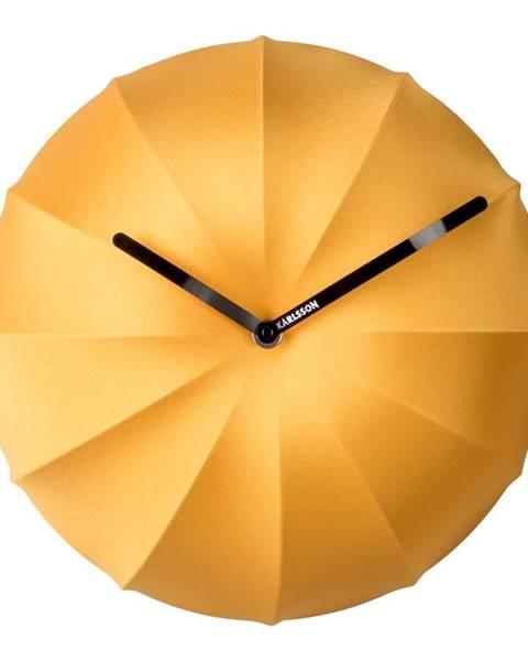 Karlsson Žlté nástenné hodiny Karlsson Stretch, ø 40 cm