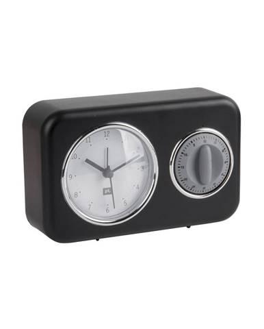 Čierne stolové hodiny s kuchynskou minútkou PT LIVING Nostalgia