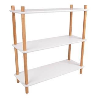 Biely regál s bambusovými nohami Leitmotiv Cabinet Simplicity, 80 x 82.5 cm