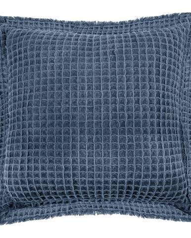 Modrý bavlnený dekoratívny vankúš Tiseco Home Studio Waffle, 45 x 45 cm