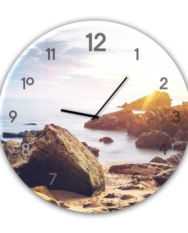 Nástenné hodiny Styler Glassclock Stones, ⌀ 30 cm
