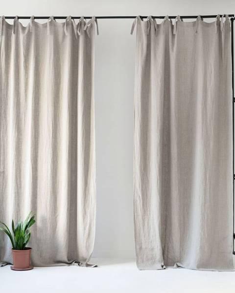 Linen Tales Béžový ľanový záves s pútkami Linen Tales Night Time, 275 x 140 cm