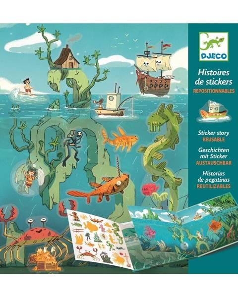 Djeco Set knihy s premiestniteľnými samolepkami Djeco Sea Sticker Story