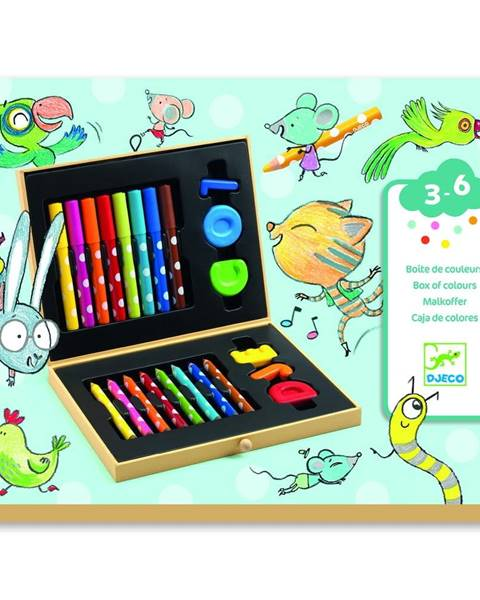 Djeco Výtvarnícky kufrík s pastelkami a fixkami Djeco