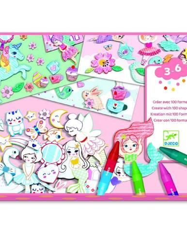 Výtvarný set na vyfarbovanie a nalepovanie Djeco Girlie World