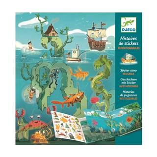 Set knihy s premiestniteľnými samolepkami Djeco Sea Sticker Story