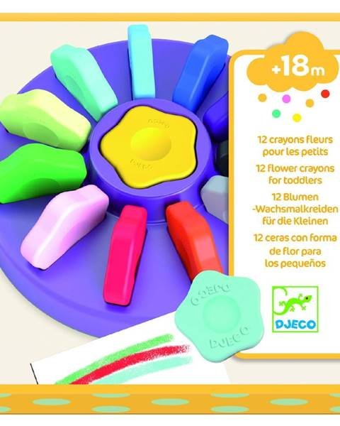 Djeco Sada 12 farebných kried v škatuľke Djeco Flower