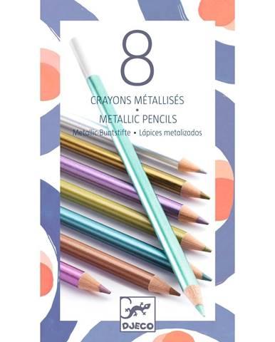 Sada 8 pasteliek s metalickým efektom Djeco