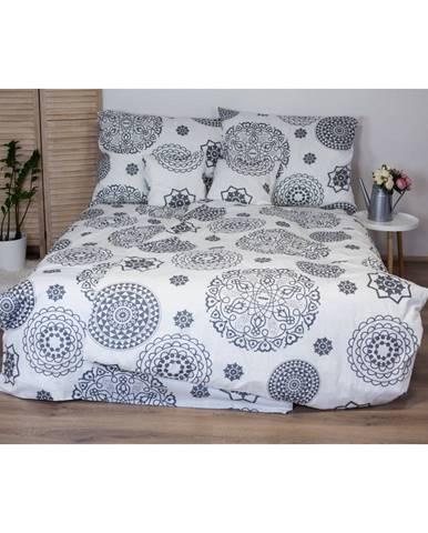Bielo-sivé bavlnené posteľné obliečky Cotton HoMandala, 140x200 cm