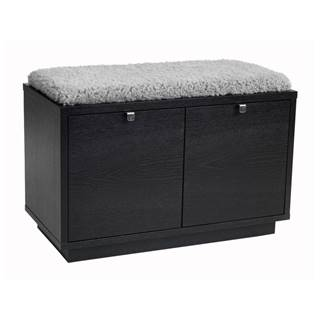 Čierna lavica s úložným priestorom a so sivým sedadlom Rowico Confetti, šírka 70 cm