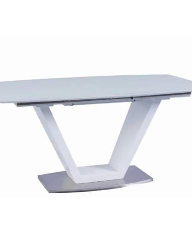 Jedálenský stôl rozkladací biela extra vysoký lesk/oceľ PERAK