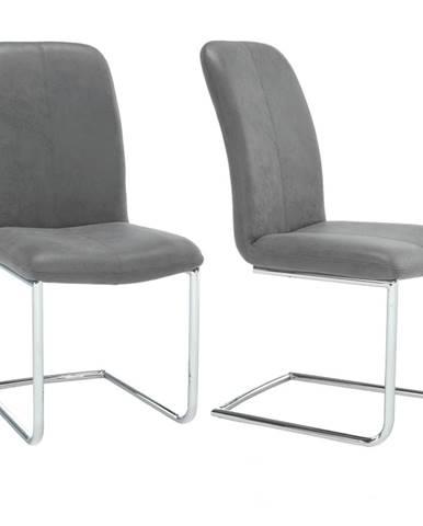 2 kusy stolička látka sivá/chróm VERMONA TYP 3