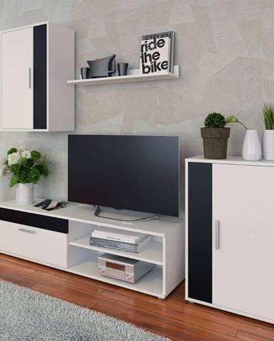 Obývacia stena biela/čierna KEVIN