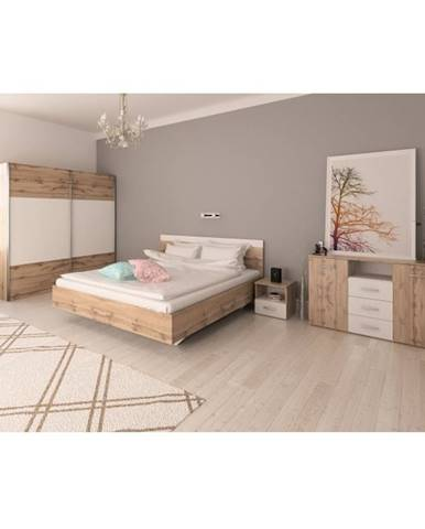Spálňový komplet (posteľ 180x200 cm) dub wotan/biela GABRIELA