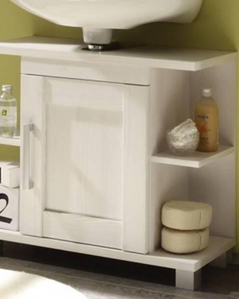 ASKO - NÁBYTOK Kúpeľňová skrinka pod umývadlo Poseidon, bielený smrekovec%