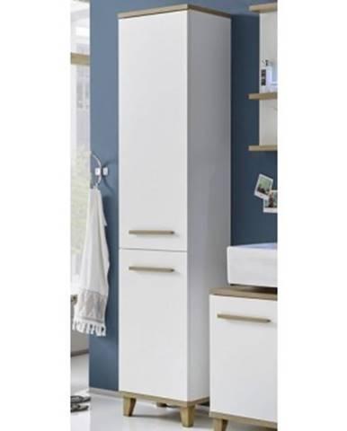 Kúpeľňová vysoká skrinka South, biela/dub riviera%