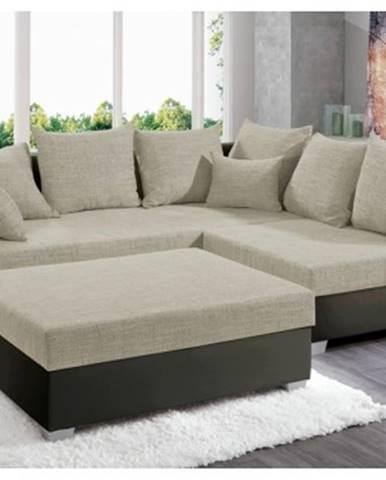 Rohová sedacia súprava s taburetom Twist, hnedá ekokoža/béžová tkanina%