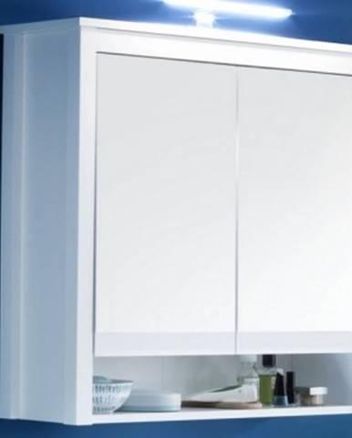 Kúpeľňová skrinka so zrkadlom Ole, biela, šírka 81 cm%