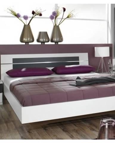 Posteľ s nočnými stolíkmi Burano 160x200 cm, biela/sivá%