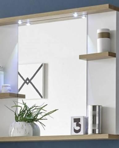 Zrkadlový panel s policami South, biela/dub riviera, LED osvetlenie%