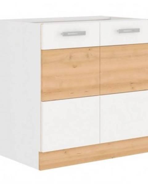 ASKO - NÁBYTOK Dolná kuchynská skrinka Iconic 80D2F, buk iconic / biely lesk, šírka 80 cm%