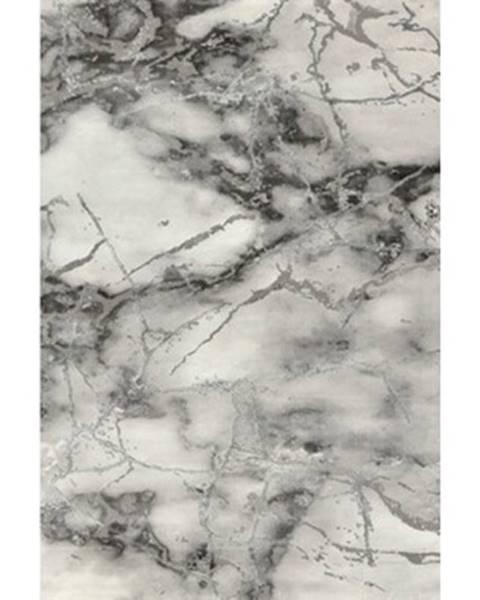 ASKO - NÁBYTOK Koberec Craft 80x150 cm, mramorová optika, šedo-strieborný%